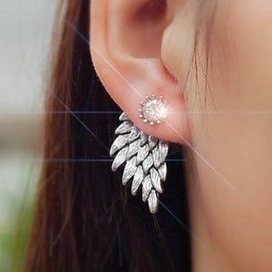 Angel Wing Stud Ear Jacket Earrings